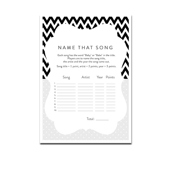 Free Printable Baby Shower Game Name That Song Black
