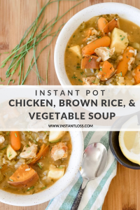 Instant Pot Chicken, Brown Rice, and Vegetable Soup instantloss.com