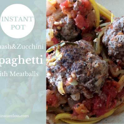 Instant Pot Zucchini & Squash Spaghetti with Meatballs