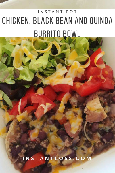 Instant Pot Chicken, Black Bean, and Quinoa Burrito Bowl instantloss.com