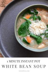 1 Minute Instant Pot White Bean Soup