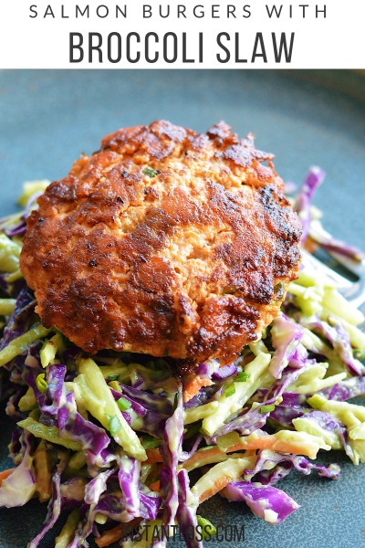 Salmon Burgers with Broccoli Slaw instantloss.com