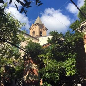 Visiting the inner garden of la Cervara Abbey in Portofino on Instantly Italy