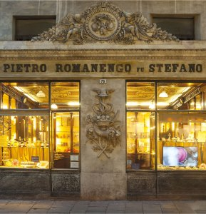 The windows of the Romanengo Shop in Genova on Instantly Italy