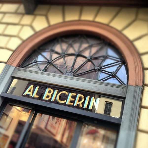The store sign of Al Bicerin, an historic cafè in Torino, Italy