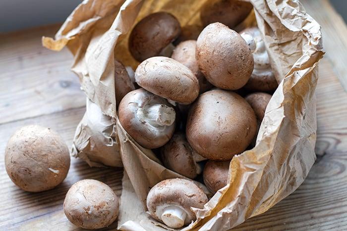 Swiss brown mushrooms used for this pressure cooker mushroom soup