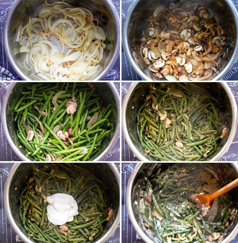 Instant Pot Green Bean Casserole step by step instructions