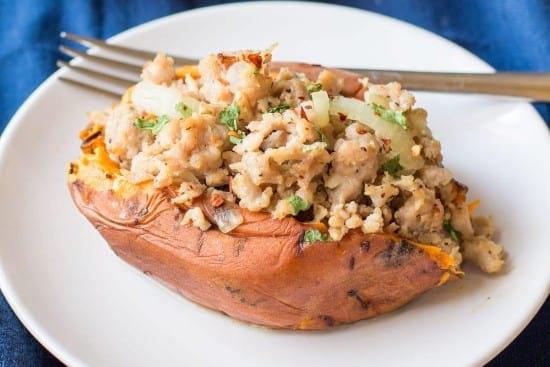 Italian turkey stuffed sweet potatoes - instant pot recipe