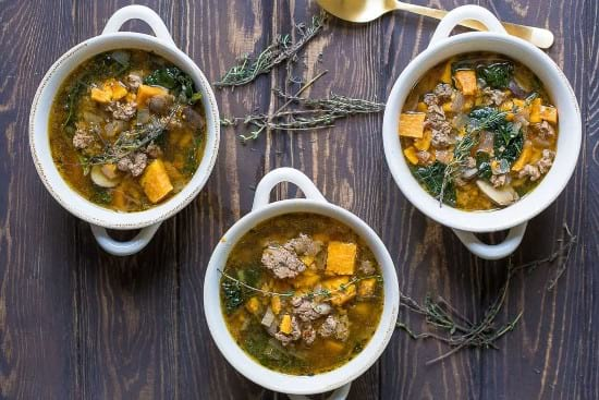 Instant Pot Turkey Sausage Kale and Sweet Potato Soup