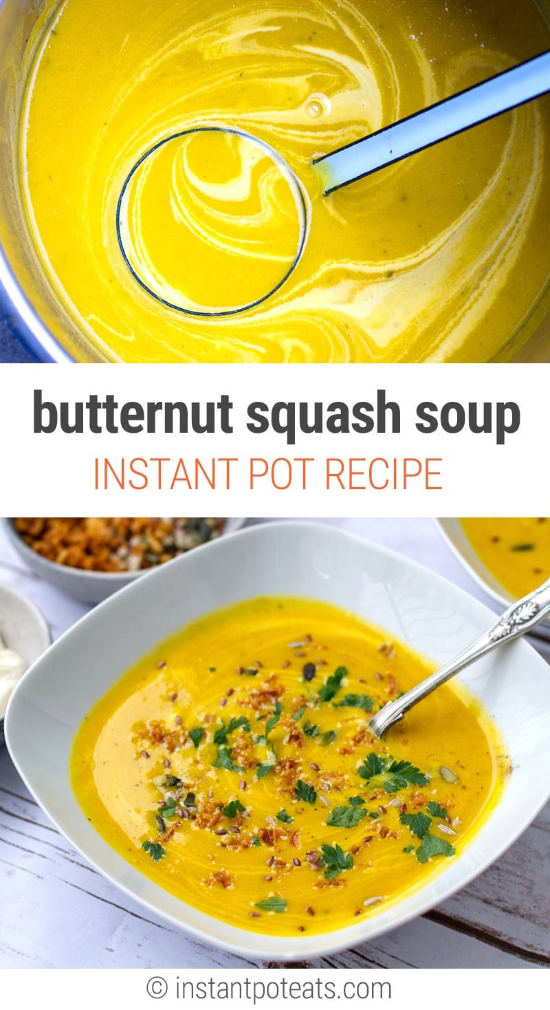 Instant Pot Butternut Squash Soup Recipe - vegetarian, gluten-free, paleo and vegan-friendly | #soups #instantpot #instantpotrecipes #soup #butternutsquash