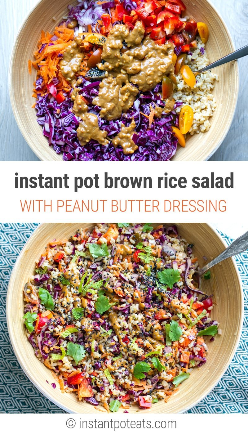 Delicious Asian rainbow brown rice salad with peanut butter dressing. The brown rice is cooked with ginger and garlic in the Instant Pot for a much quicker prep. #instantpot #pressurecooker #brownrice #vegan #glutenfree #recipes