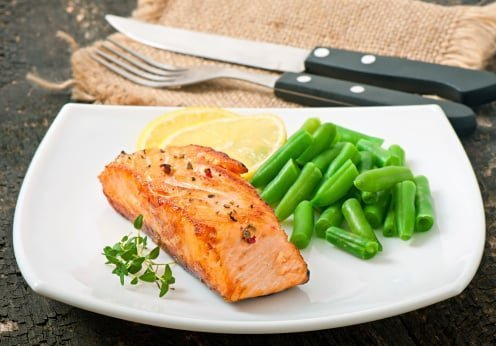 Instant Pot green beans with salmon