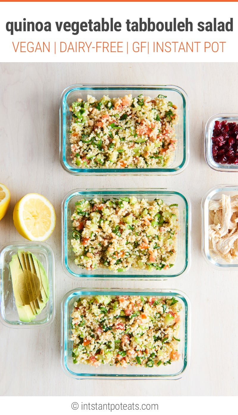Instant Pot Quinoa Vegetable Tabbouleh Salad   #cleaneating #mealprep #mealplanning #quinoa @quinoasalad #llunch #healthyeating