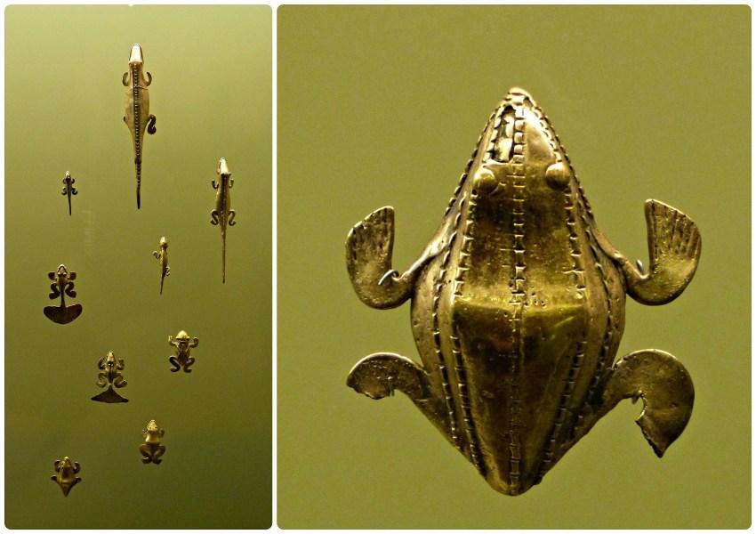 Objets présentés dans le Musée de l'Or d'Armenia représentant des animaux (grenouilles, salamandres...)