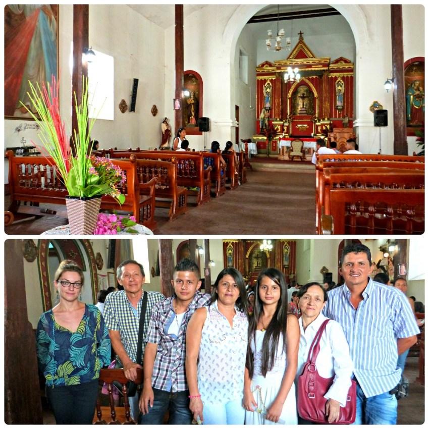 Interior de la iglesia de Riofrío y foto de toda la familia