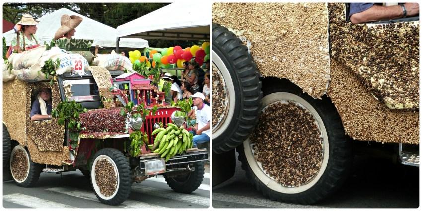 Jeep cargada de café en el desfile del Yipao en Armenia