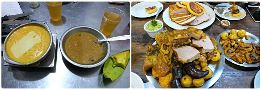 Platos que pedimos en un restaurante de mariscos de Bogotá y un restaurante de picada