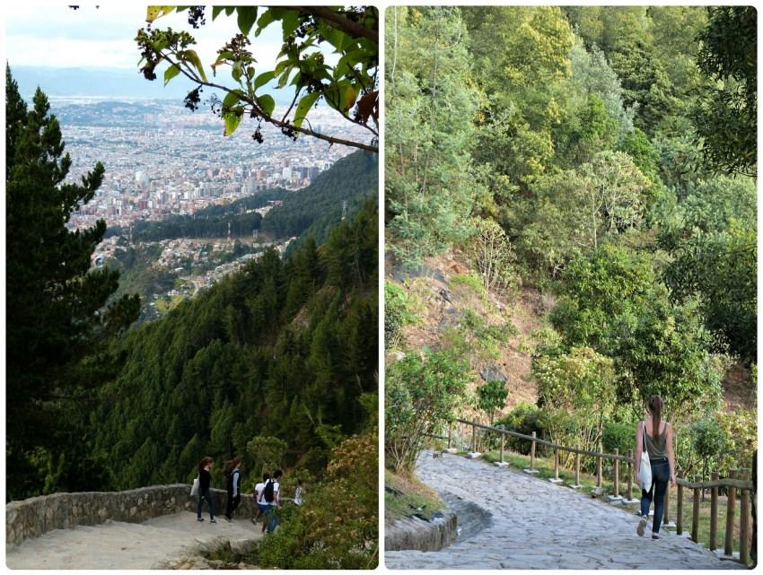 Charlène y los primos de Charles bajando las escaleras de Monserrate en Bogotá