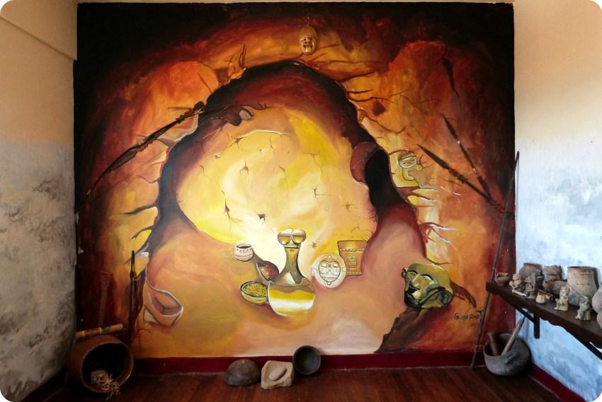 Fresco mural, en el museo nacional del sombrero en la casa de la cultura en Aguadas