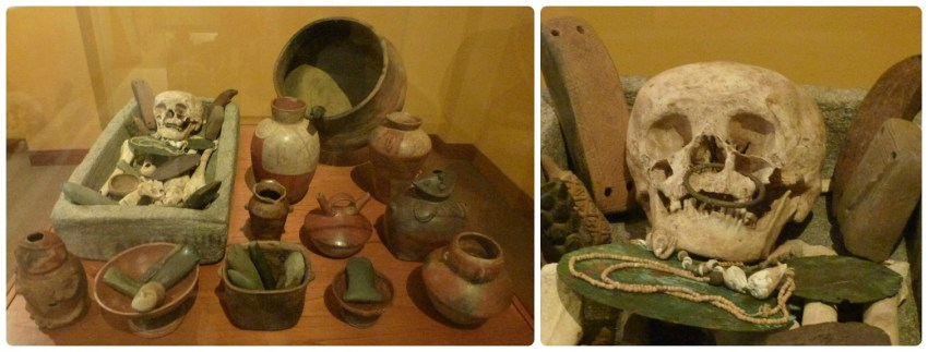 Pots et squelette présentés dans une vitrine du Musée archéologique de Manizales