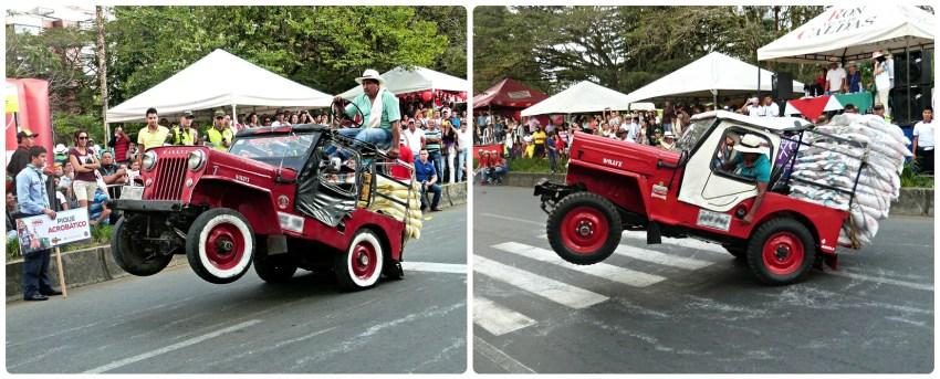 Jeep girando en el desfile del Yipao en Armenia