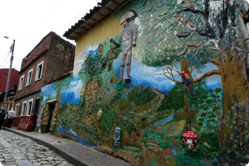 Fresco mural en el barrio de la Candelaria en Bogotá