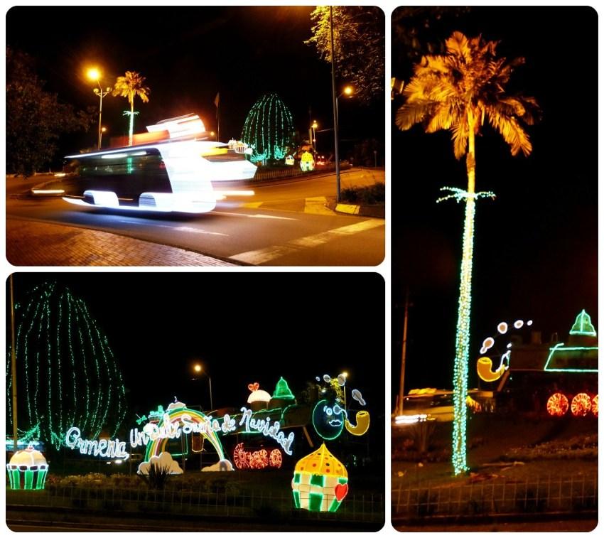 lumières de Noël sur un rond-point d'Armenia