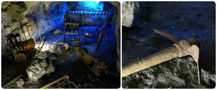 Herramientas expuestas en la catedral de sal de Zipaquira