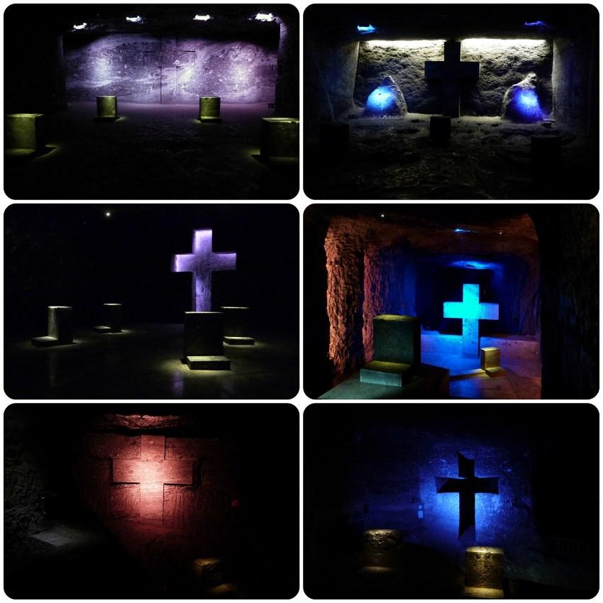 Escenas de la vida de Jesús representadas en cavidades de la catedral de sal de Zipaquira