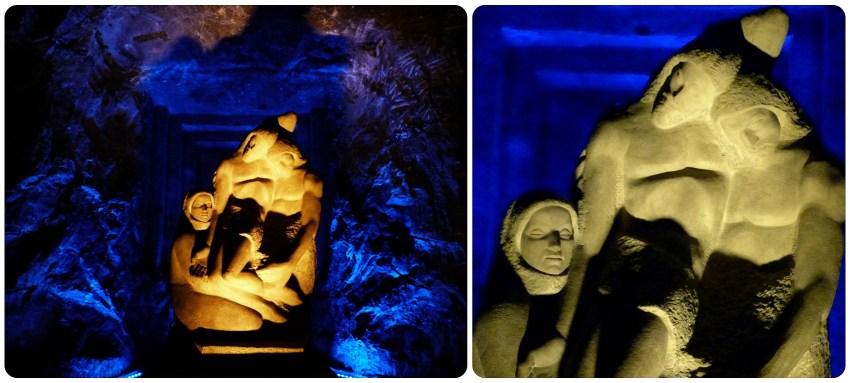 Sculpture à l'intérieur de la cathédrale de sel de Zipaquira