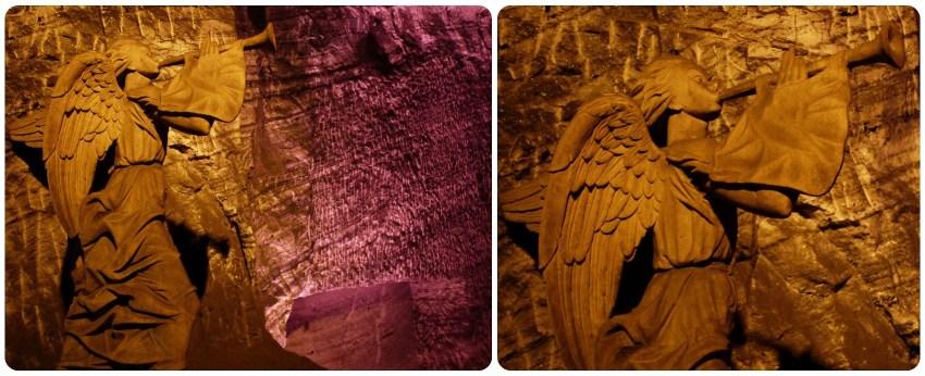 La escultura del ángel delante de las luces moradas de la catedral de sal de Zipaquira