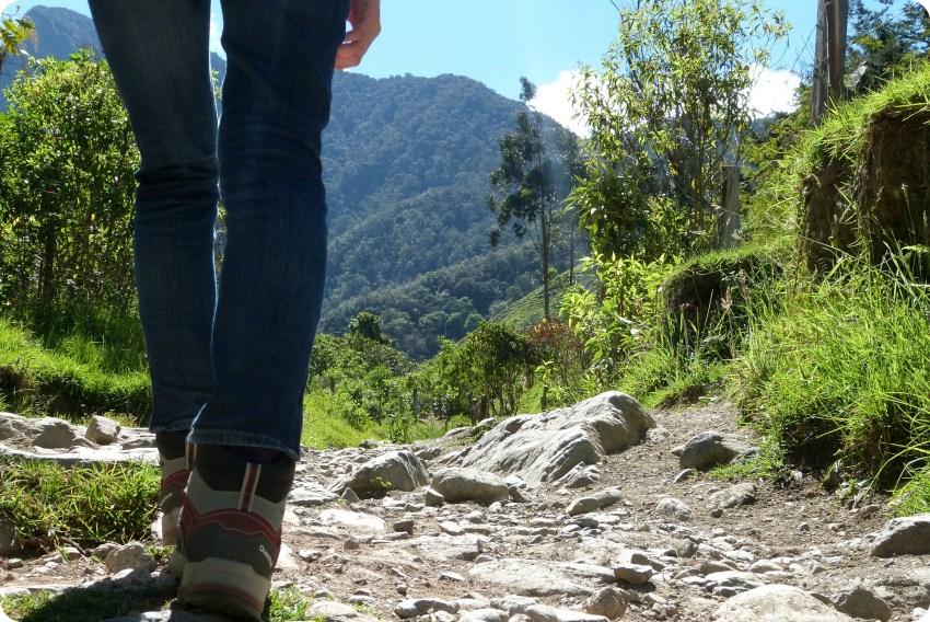 zapatos Quechua de Charlène en el camino del valle de Cocora
