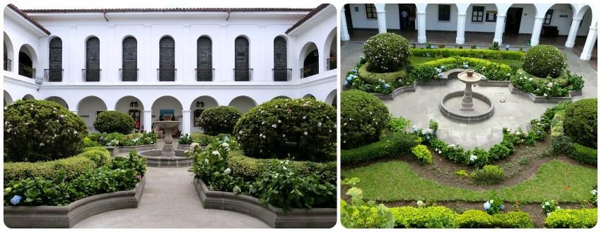 patio floreado rodeado del edificio blanco de la alcaldía de Popayán