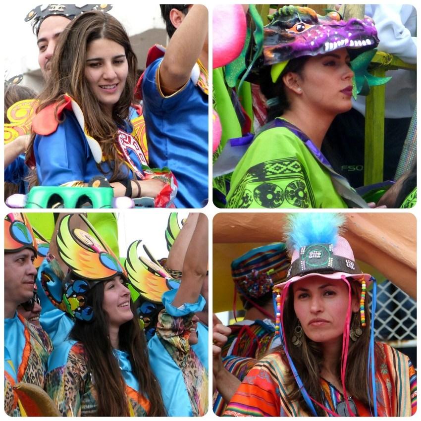 femmes sur des chars du défilé du carnaval de Pasto
