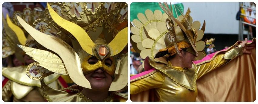 femme avec un masque de soleil au carnaval de Pasto