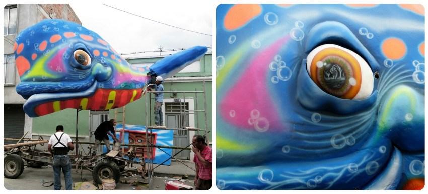carro con una ballena colorida por el carnaval de Pasto