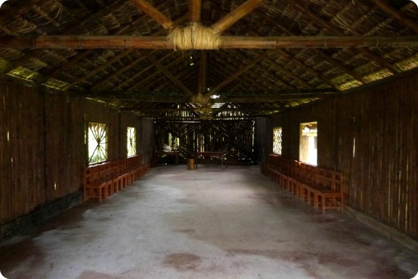 interior de la casa comunal de los Tsachila en Santo Domingo de los Colorados