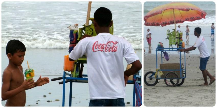 zoom sur le vendeur de raspao sur la plage de Pedernales