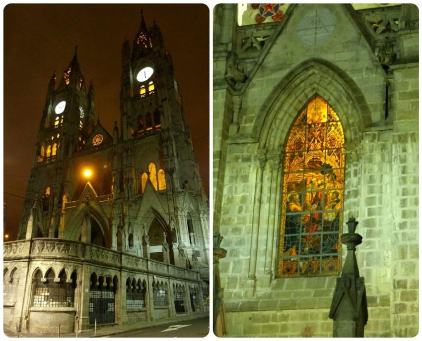 La Basílica del Voto Nacional de noche