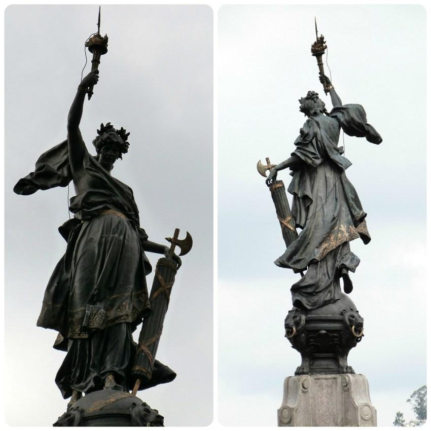 escultura encima del monumento de la independencia de Quito