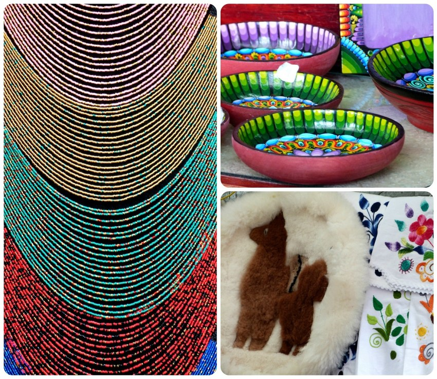 detalles de los artículos vendidos en el Mercado artesanal de la Mariscal de Quito
