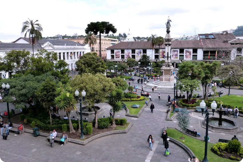 Plaza Grande vista desde el Palacio presidencial de Quito