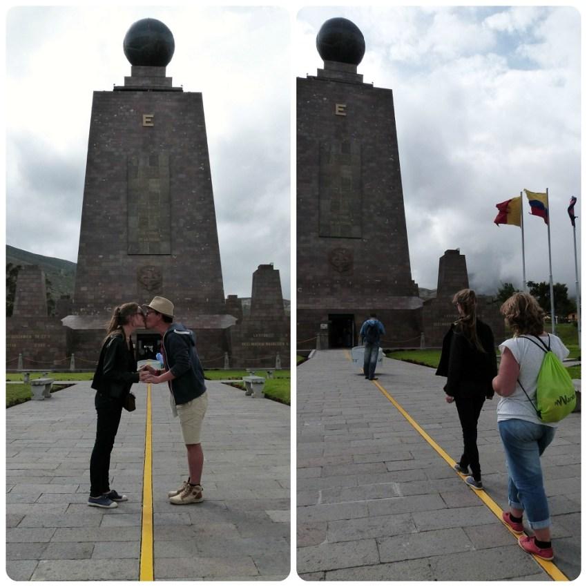 Nous 3 sur la ligne de la Mitad del Mundo de Quito