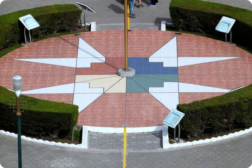 los puntos cardinales en la Mitad del Mundo de Quito