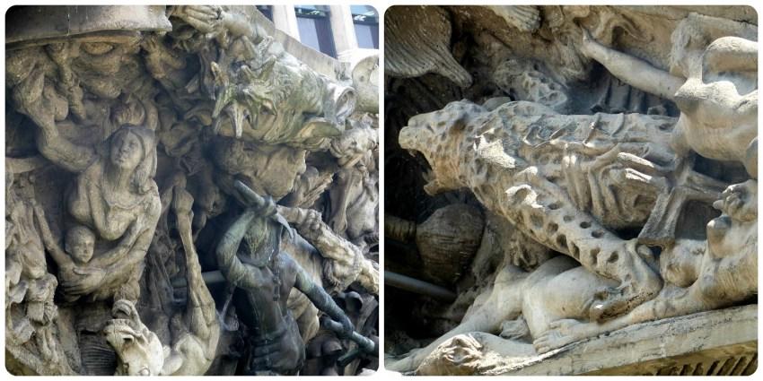 Detalles de la escultura Monumento a la raza de Medellín