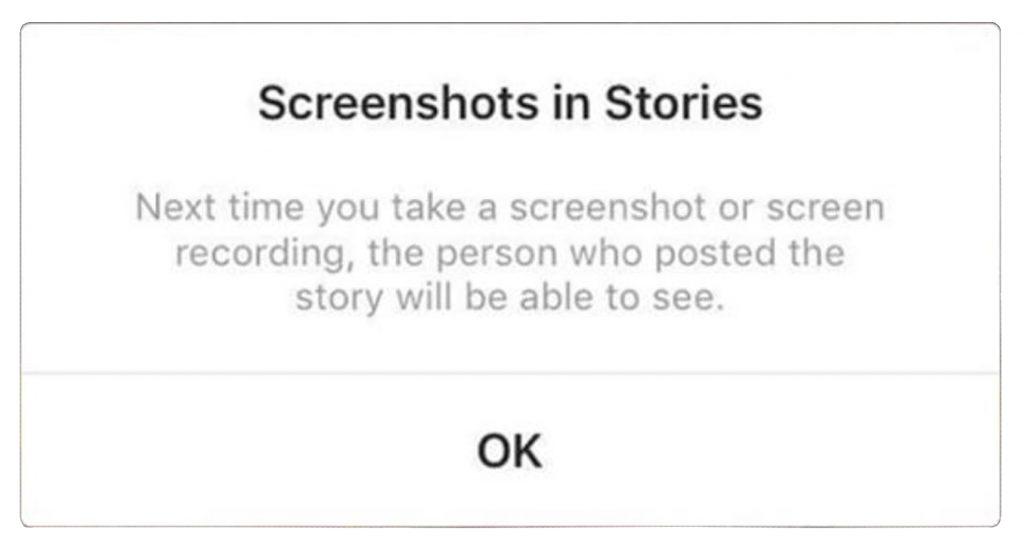 Rappel d'écran de l'histoire Instagram