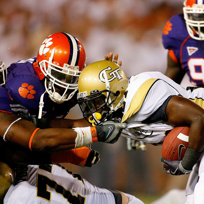 Clemson held reigning ACC Player of the Year Jonathan Dwyer to 66 yards rushing, but Georgia Tech still came out on top 30-27.  (Getty Images/Kevin C. Cox)