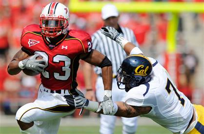 Maryland running back Da'Rel Scott in happier times, running against Cal in a 2008 win. (AP Photo/Nick Wass)