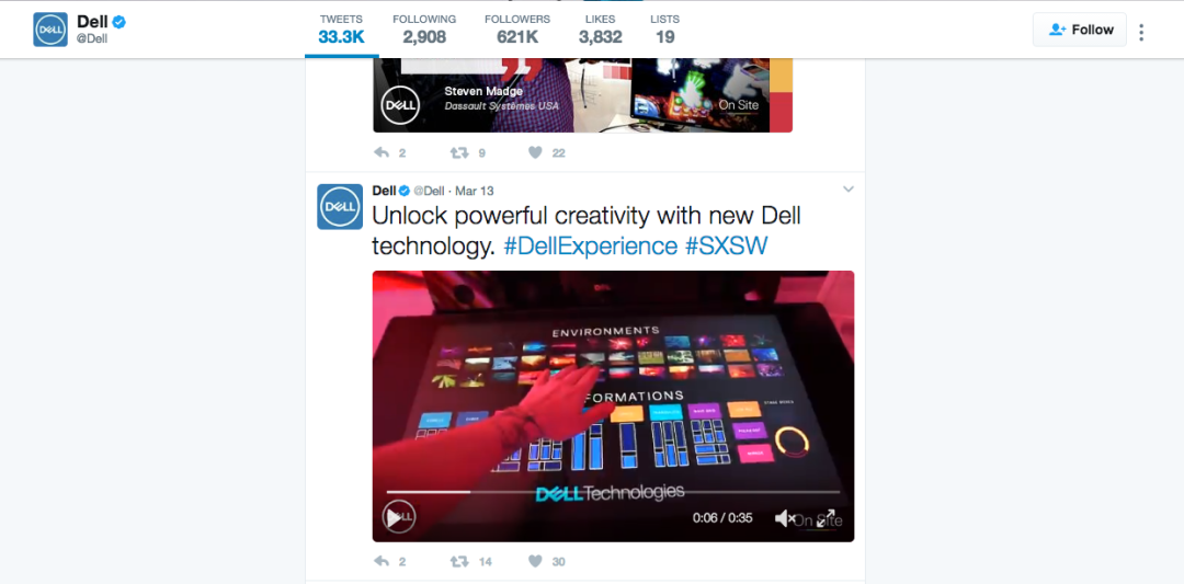 Dell uses Twitter to recap highlights from the SXSW 2017 conference