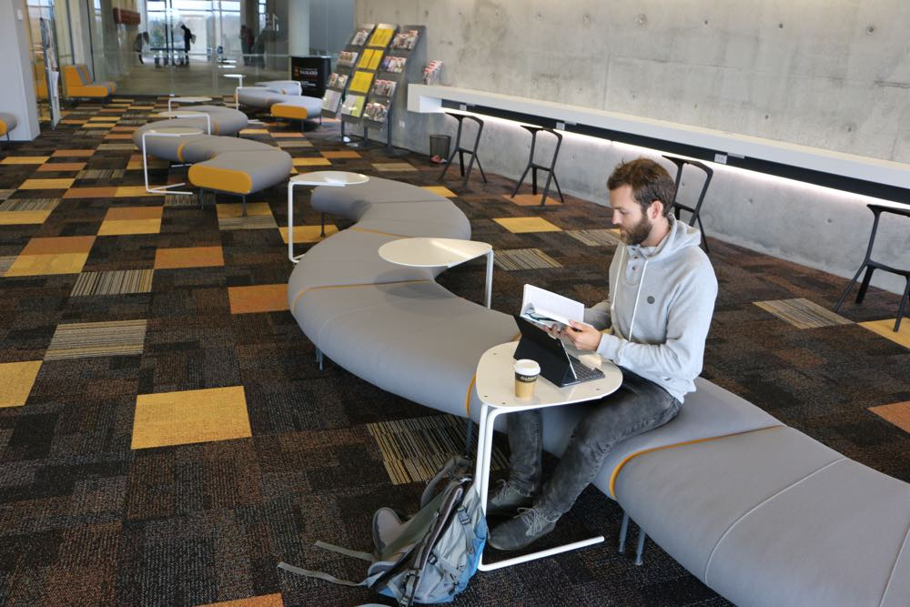 SPARROW Tables at Waikato University's Law and Management building.